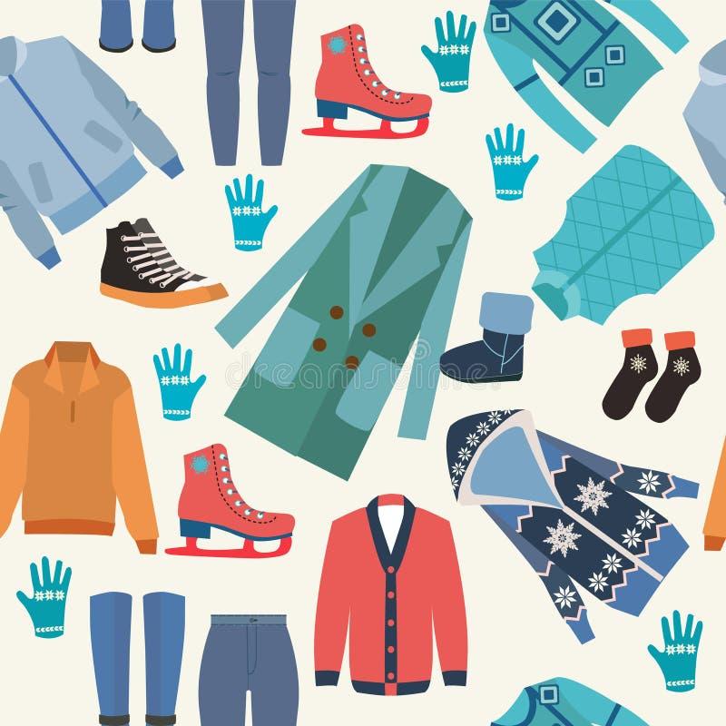 Le fond avec l'hiver de mode vêtx la collection illustration stock