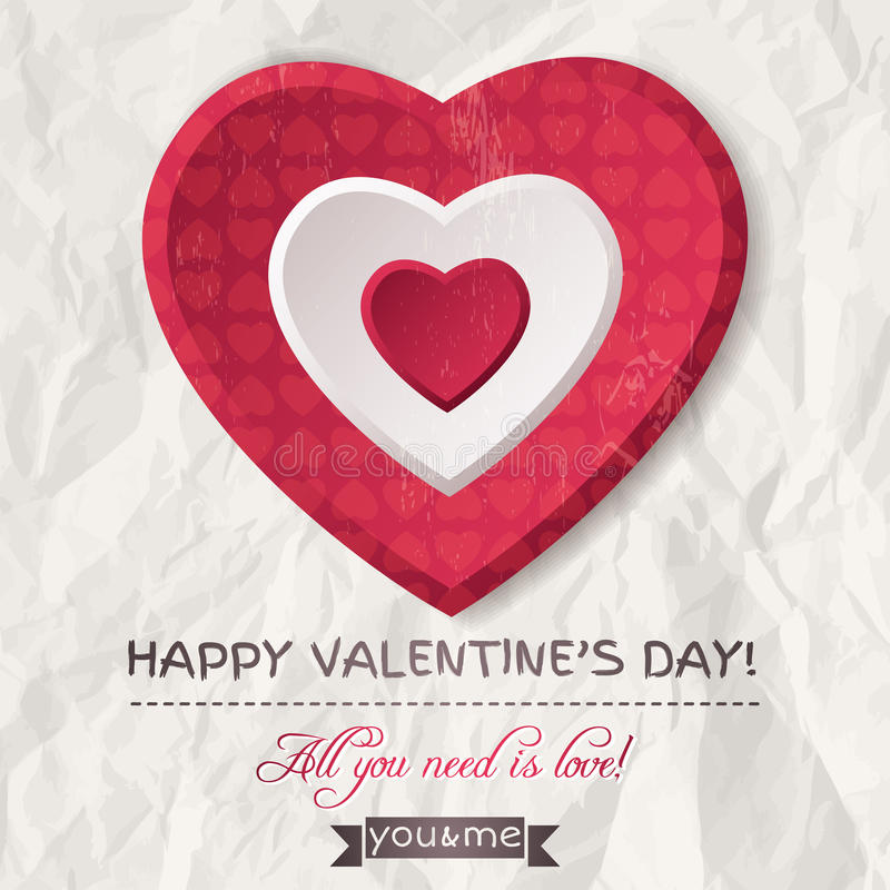 Le fond avec le coeur rouge de valentine et les souhaits textotent illustration de vecteur