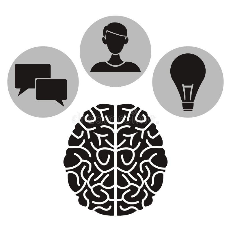 Le fond blanc avec l'humain monochrome de cerveau avec la circulaire encadre la connaissance scolaire d'éléments à l'intérieur illustration de vecteur