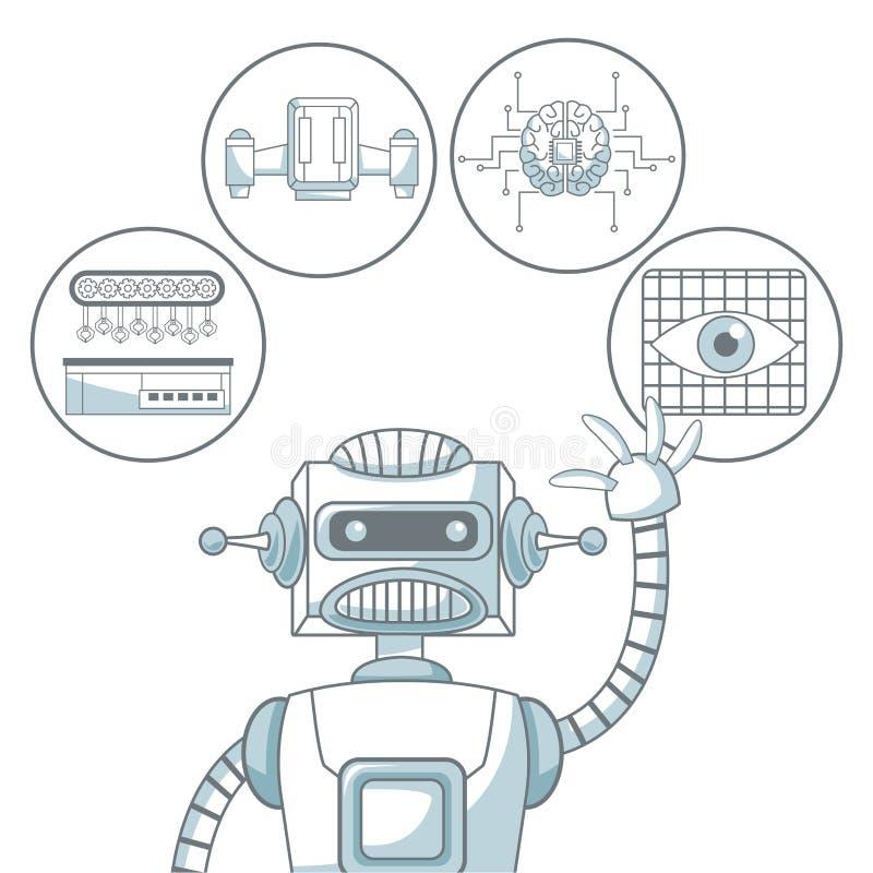 Le fond blanc avec la couleur de silhouette sectionne l'ombrage du robot et des éléments futuristes illustration stock