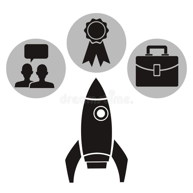 Le fond blanc avec la fusée monochrome avec la circulaire encadre la connaissance scolaire d'éléments à l'intérieur illustration de vecteur