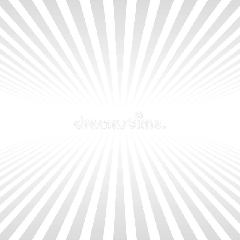 Le fond blanc avec les rayons gris-clair dépassant l'horizon, dirigent le fond clair avec les rayures verticales illustration libre de droits