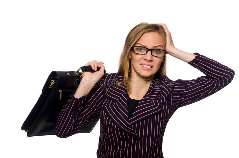 Le fond blanc d'isolement par concept de femme d'affaires de femme photographie stock libre de droits