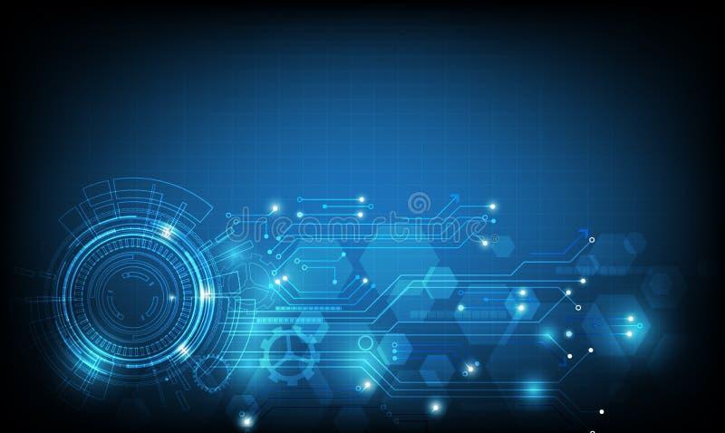 Le fond bleu d'abrégé sur vecteur montre l'innovation de la technologie et des concepts technologiques illustration de vecteur