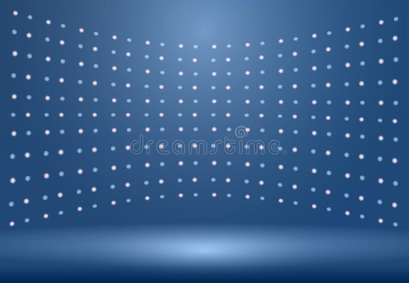 Le fond bleu de luxe de pièce de studio avec des projecteurs jaillissent utilisation comme B illustration libre de droits