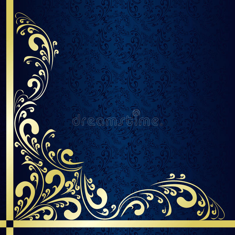 Le fond bleu-foncé a décoré un cadre d'or. illustration stock