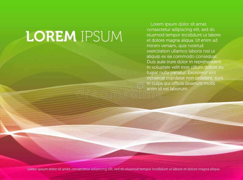 Le fond coloré abstrait avec les lignes onduleuses et la fumée effectuent l'illustration de vecteur, contexte décoratif lumineux illustration libre de droits