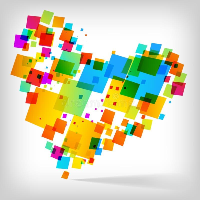 Le fond coloré de coeur abstrait illustration de vecteur