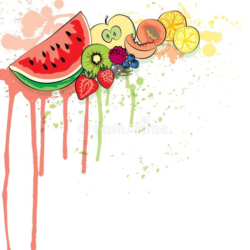 Le fond coloré juteux de vecteur de fruit, peut être employé comme bannière illustration stock