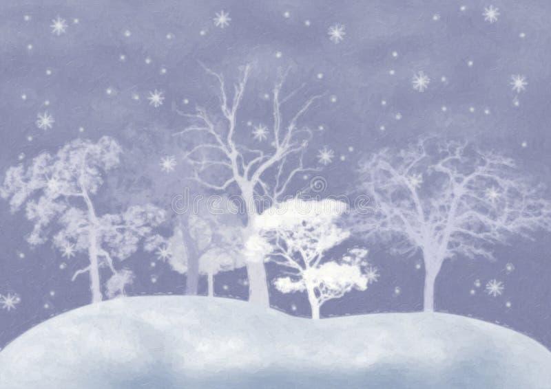 le fond a couvert l'hiver d'arbres de neige illustration de vecteur