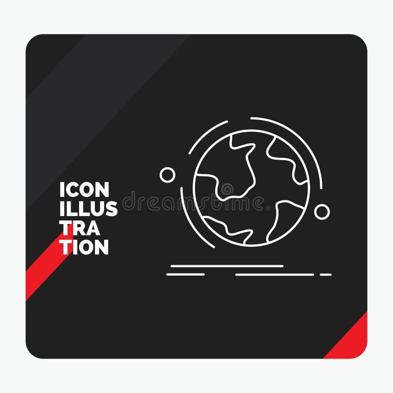 Le fond créatif rouge et noir de présentation pour le globe, monde, découvrent, connexion, ligne icône de réseau illustration de vecteur