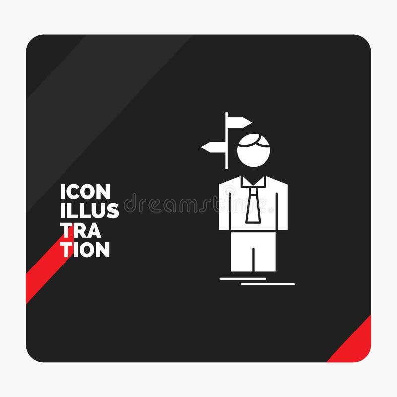 Le fond créatif rouge et noir de présentation pour la flèche, choix, choisissent, décision, icône de Glyph de direction illustration libre de droits