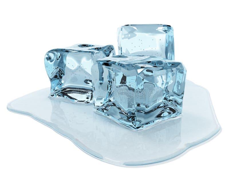 le fond cube le blanc d'isolement par glace illustration stock