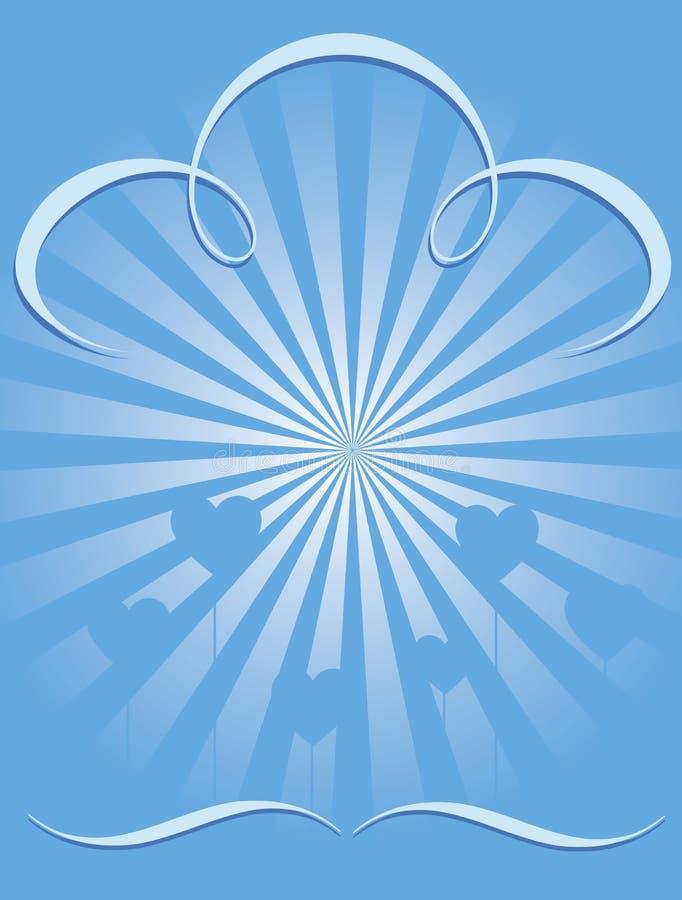 Le fond d'éclat de bleu avec le coeur monte en ballon le cmyk illustration stock