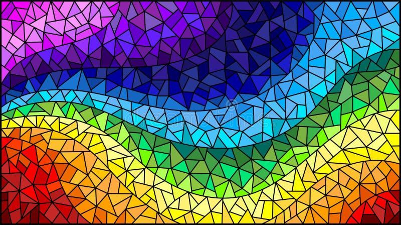 Le fond d'abrégé sur illustration en verre souillé, les éléments colorés a arrangé dans le spectre d'arc-en-ciel illustration de vecteur