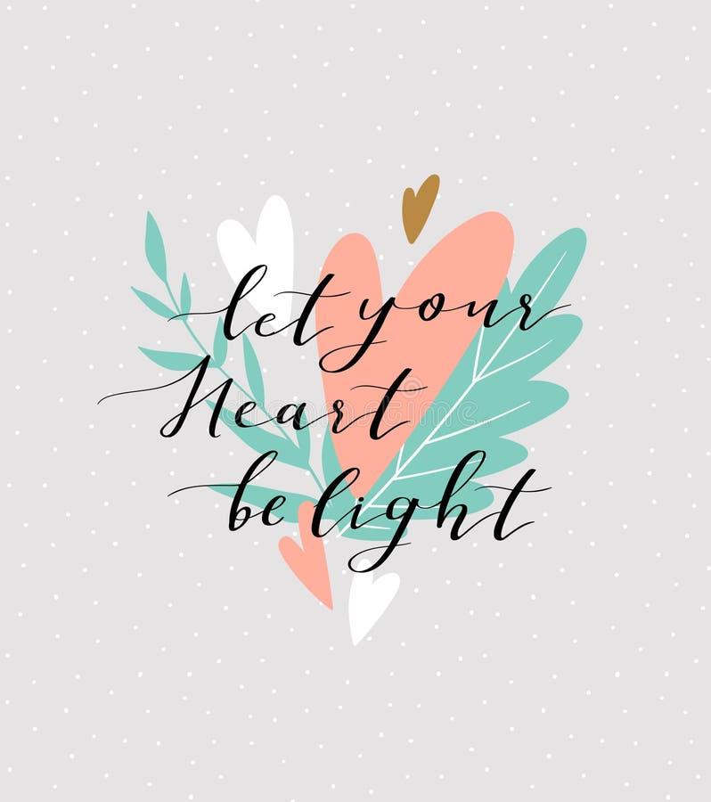 Le fond d'amour avec le ` élégant de lettrage vous a laissé coeur être ` léger sur le fond mignon Carte élégante de jour de valen illustration de vecteur