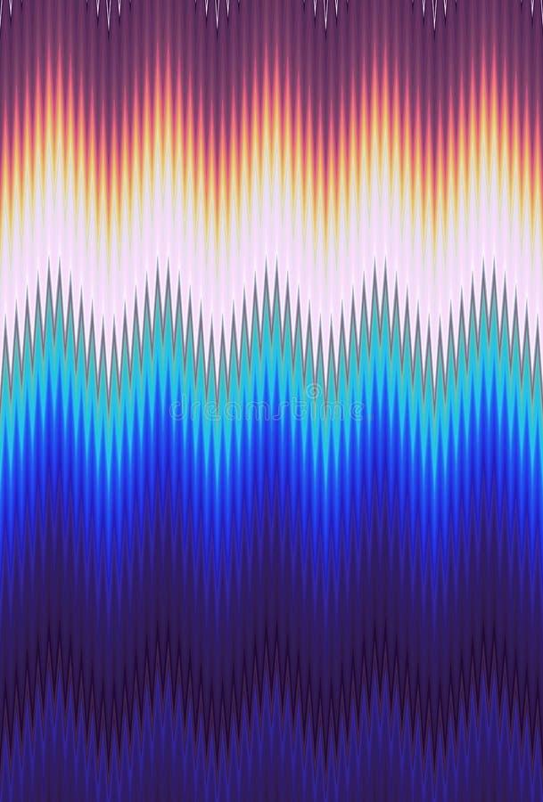 Le fond d'art abstrait de modèle de vague de zigzag de Chevron tend Aluminium froissé par surface iridescente olographe Couleurs  illustration libre de droits