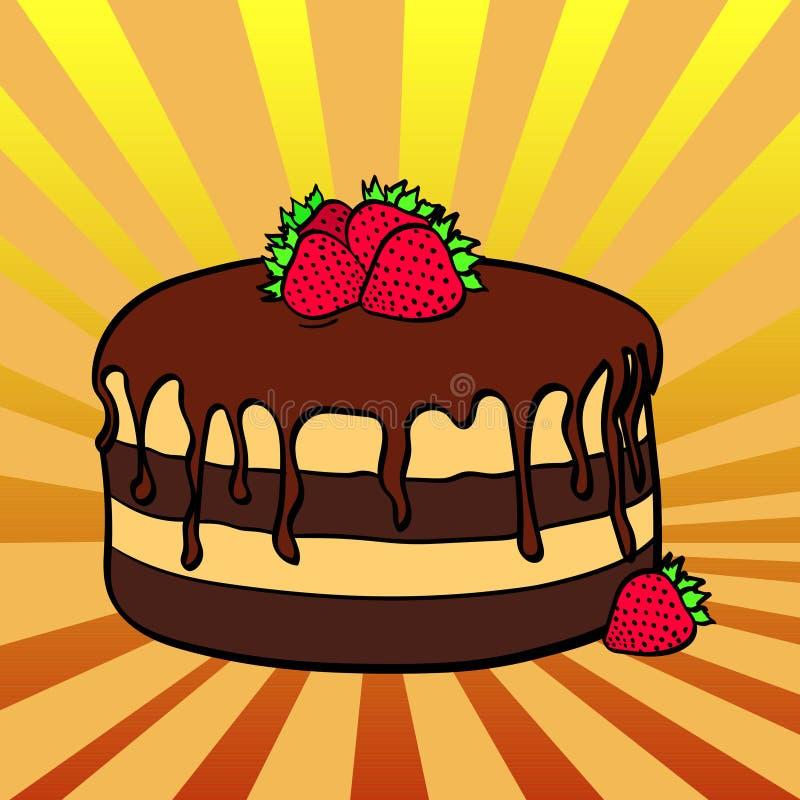 Le fond d'art de bruit, le soleil rayonne multicolore Nourriture pour les vacances, gâteau de chocolat avec des fraises Vecteur illustration stock