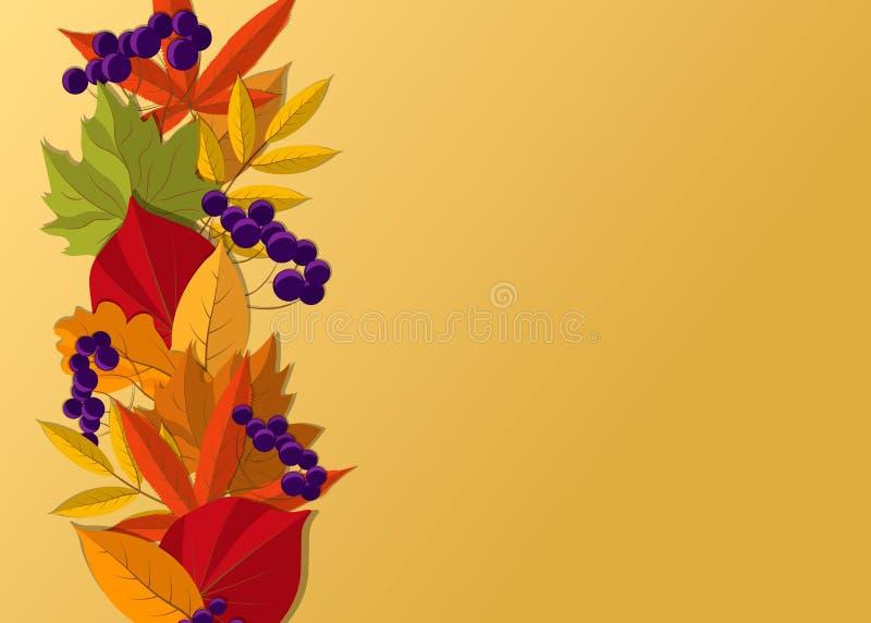 Le fond d'automne avec la chute part de la conception de frontière Illustration de vecteur illustration de vecteur