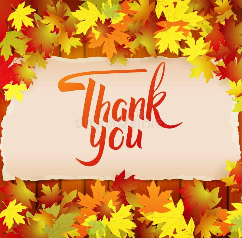 Le fond d'automne avec le lettrage vous remercient images libres de droits