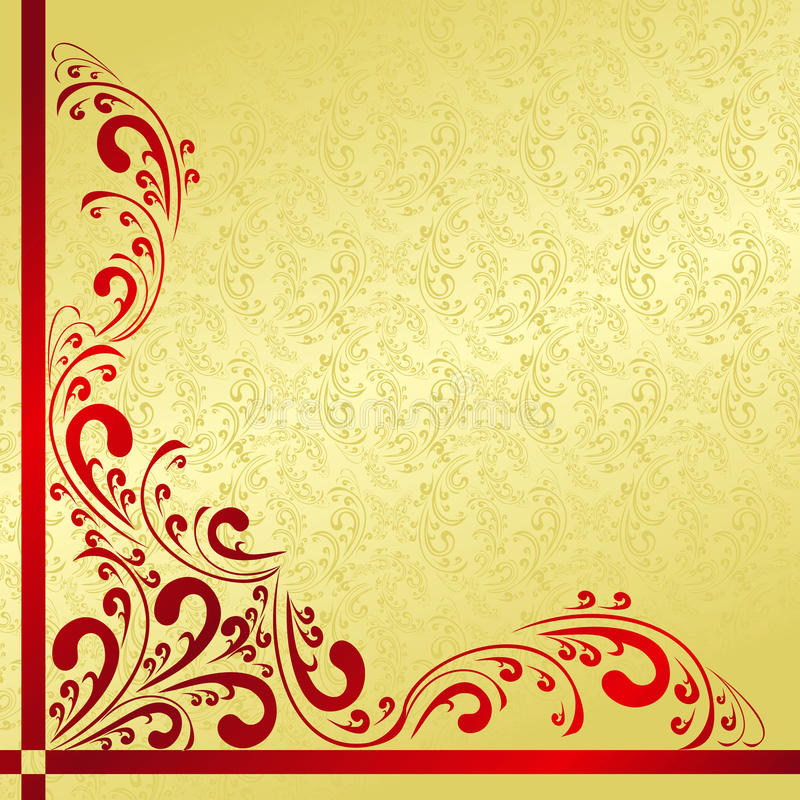 Le fond d'or de luxe a décoré un borde de cru illustration libre de droits
