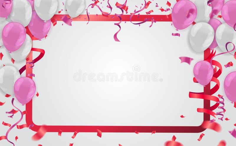 le fond de célébration et de partie avec le vol coloré monte en ballon, c illustration libre de droits