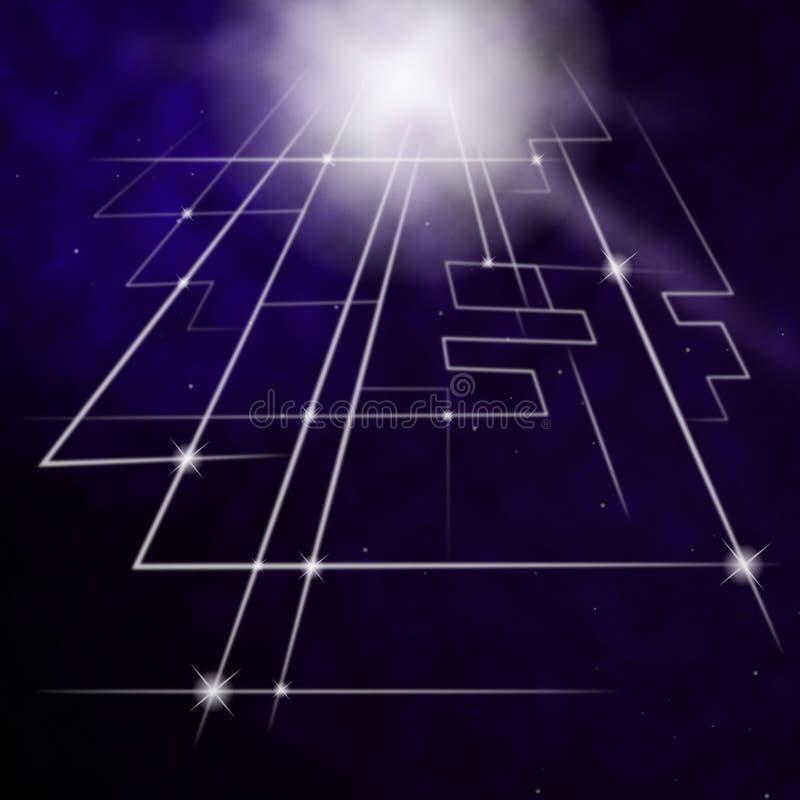 Le fond de circuit de laser montre les lignes au néon ou la conception lumineuse illustration libre de droits