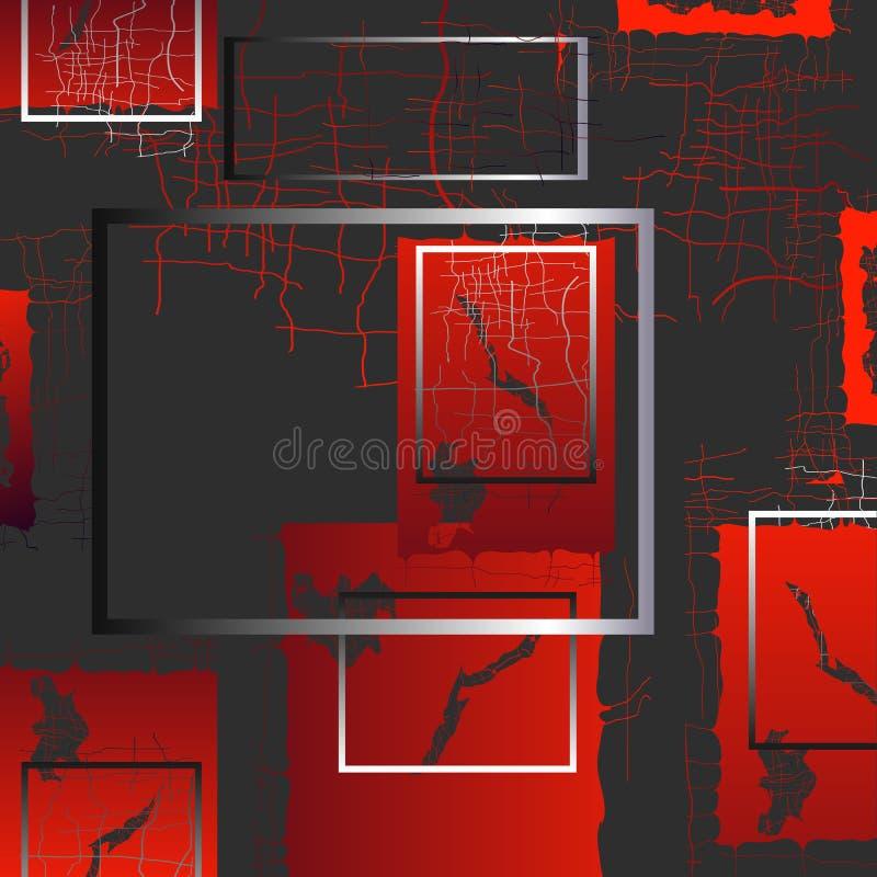 Le fond de 3D abstrait objecte avec un grand choix d'objets surréalistes dans un espace avec les ombres transparentes illustration de vecteur
