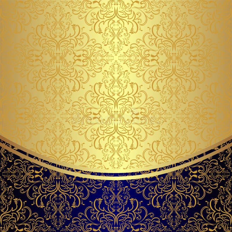 Le fond de luxe a décoré le modèle floral d'or illustration de vecteur