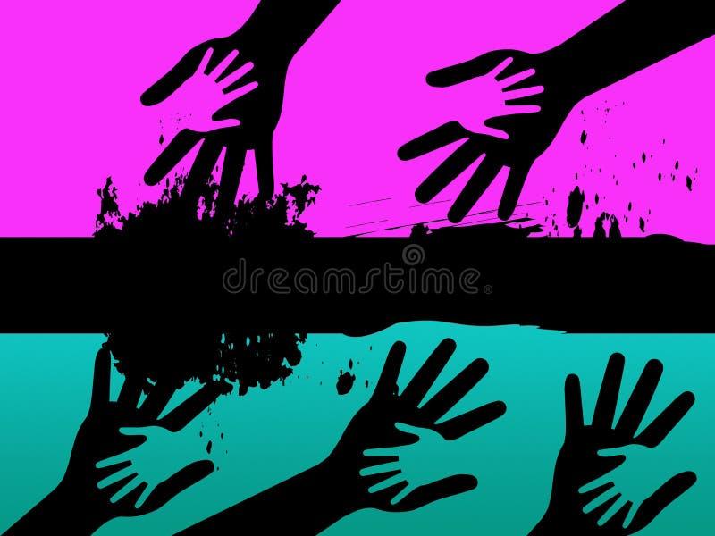 Le fond de mains signifie les connexions et la peinture adultes d'enfant illustration libre de droits