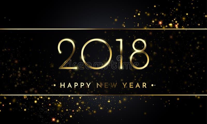 Le fond de noir de nouvelle année du vecteur 2018 avec des confettis de scintillement d'or éclaboussent la texture illustration stock