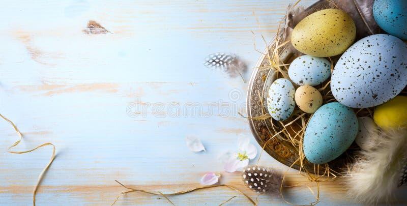 le fond de Pâques avec les oeufs et le ressort de pâques fleurit Vue supérieure photographie stock libre de droits