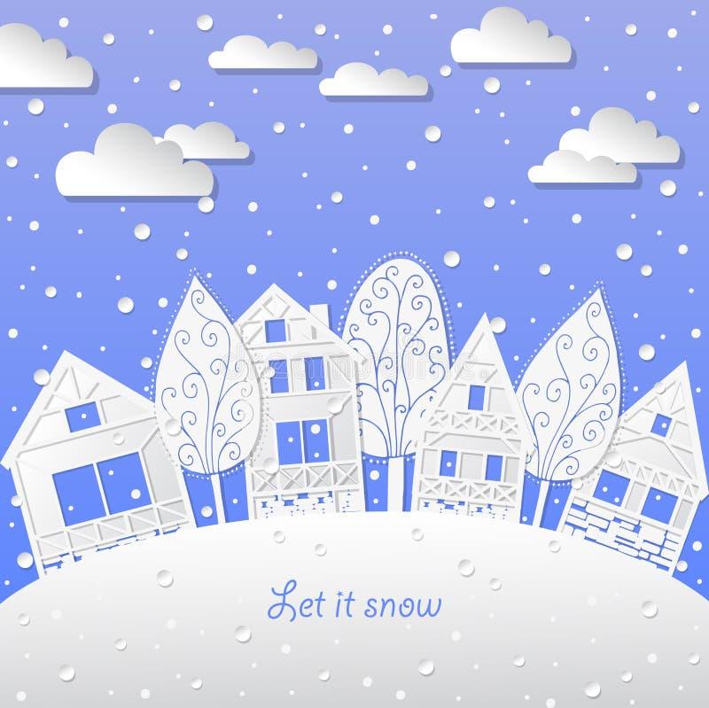 Le fond de paysage d'hiver l'a laissé neiger illustration libre de droits
