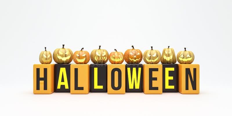 Le fond de potirons de Halloween avec le texte d'isolement sur 3d blanc rendent illustration stock