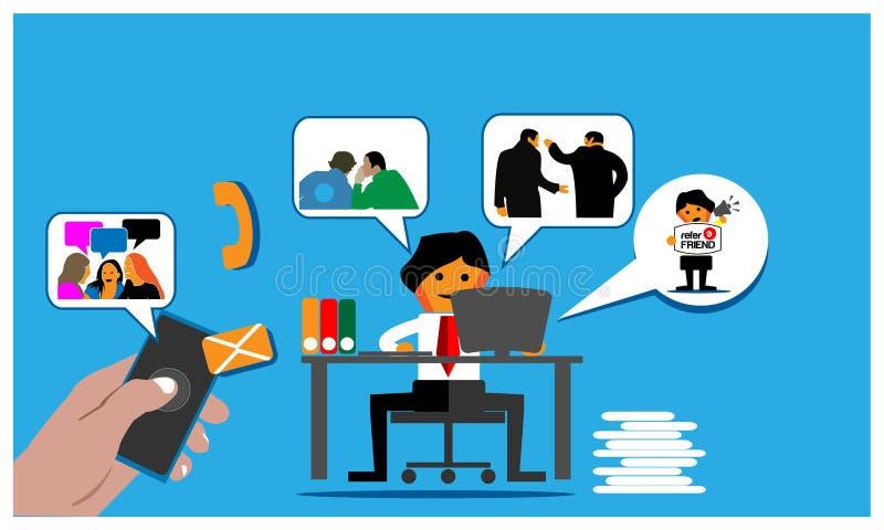 Le fond de programme de référence avec l'employé de bureau invitent des amis au-dessus de l'Internet Illustration plate de vecteu illustration libre de droits