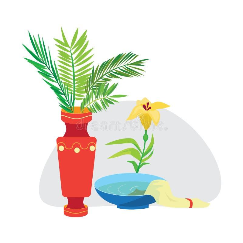 Le fond de semaine sainte et de dimanche de paume, la branche verte dans le vase et les fleurs dirigent l'illustration illustration de vecteur