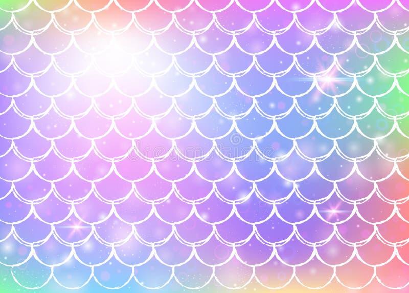 Le fond de sirène de Kawaii avec l'arc-en-ciel de princesse mesure le modèle illustration libre de droits