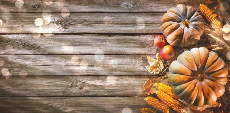 Le fond de thanksgiving avec des potirons et la chute part sur la rouille image stock
