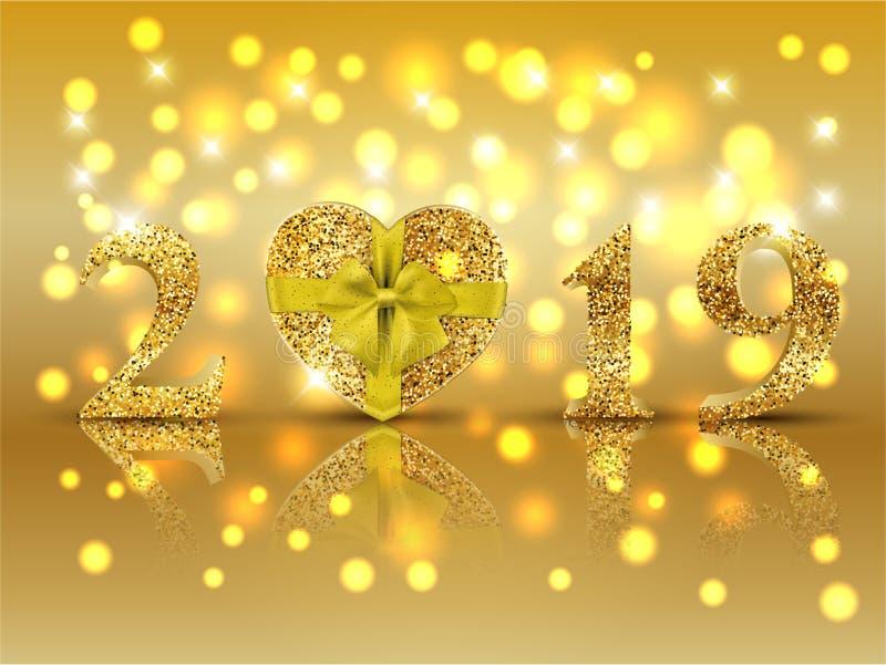 Le fond de vacances de nouvelle année avec le scintillement d'or numéro 2019 et présent illustration stock
