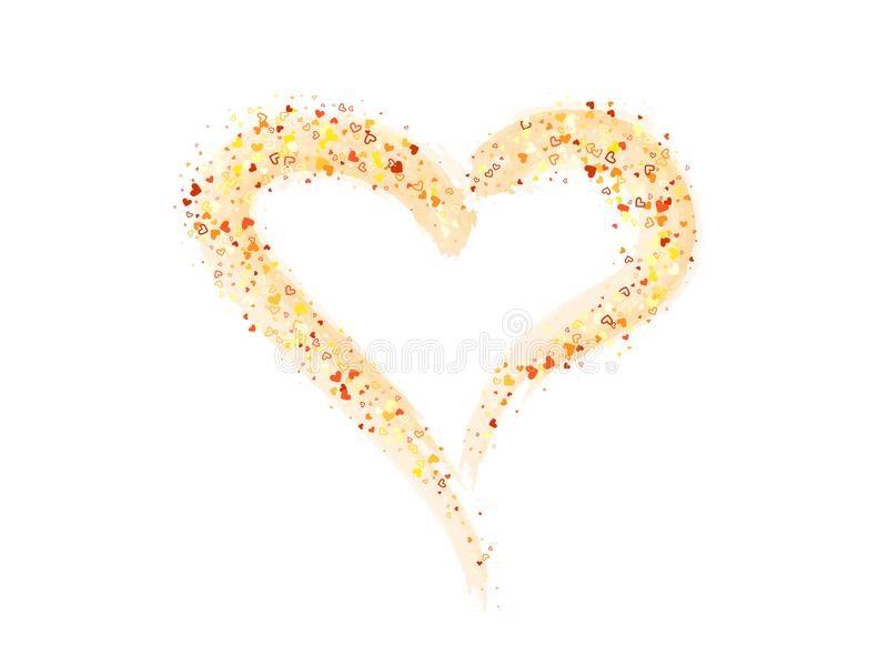 Le fond de vecteur avec le coeur de scintillement d'or a peint illustration de vecteur