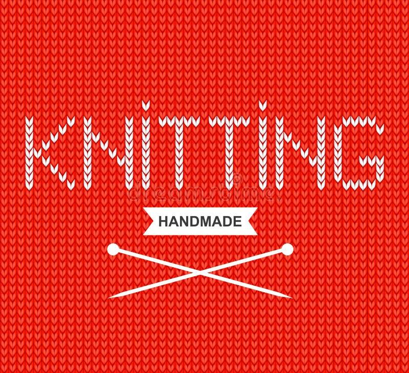 """Le fond de vecteur a tricoté le tissu avec une inscription """"tricotant """"et des aiguilles de tricotage Texture tricot?e de laines illustration de vecteur"""