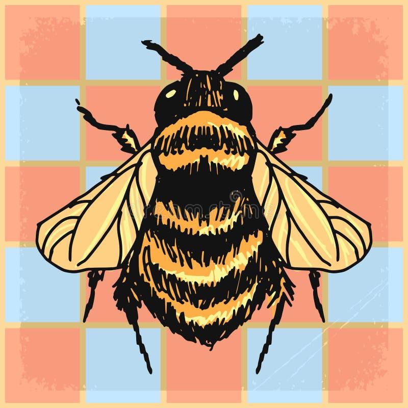 Le fond de vintage avec gaffent l'abeille illustration stock