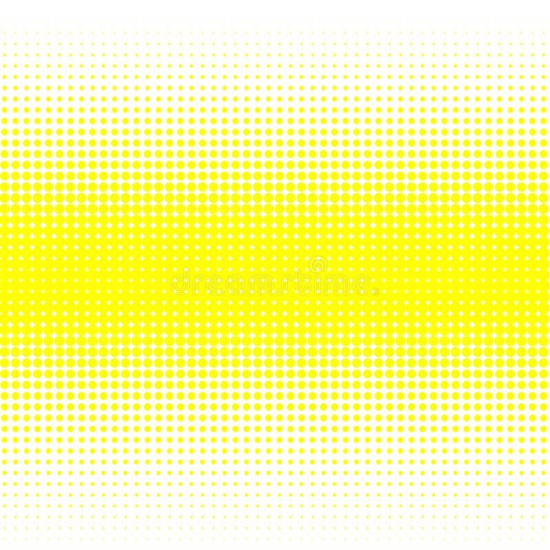Le fond des points jaunes de différentes tailles ont la densité différente sur le blanc illustration de vecteur