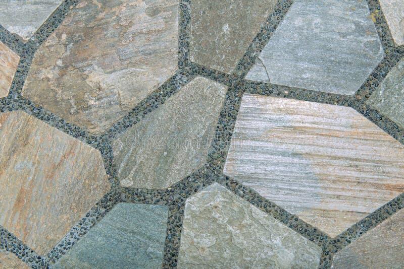 Le fond du mur de briques moderne de pierre d'ardoise a apprêté pour la conception image libre de droits