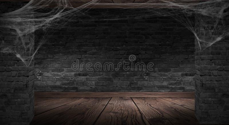 Le fond du vieux mur de briques, fissures dans le mur, toile d'araignée, lampe au néon illustration libre de droits