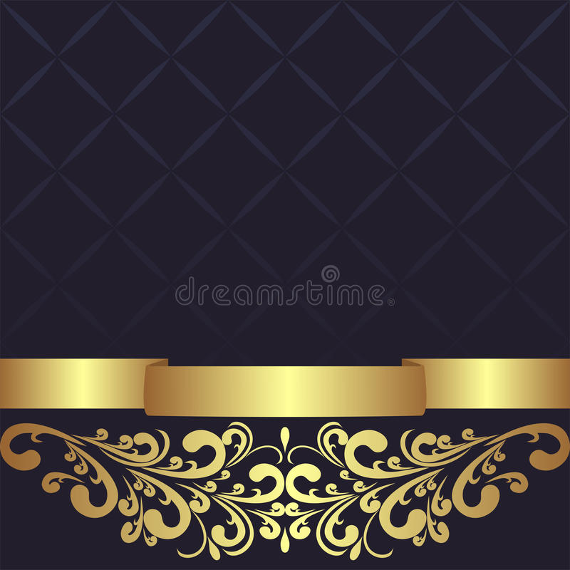 Le fond géométrique bleu-foncé a décoré la frontière florale d'or illustration de vecteur