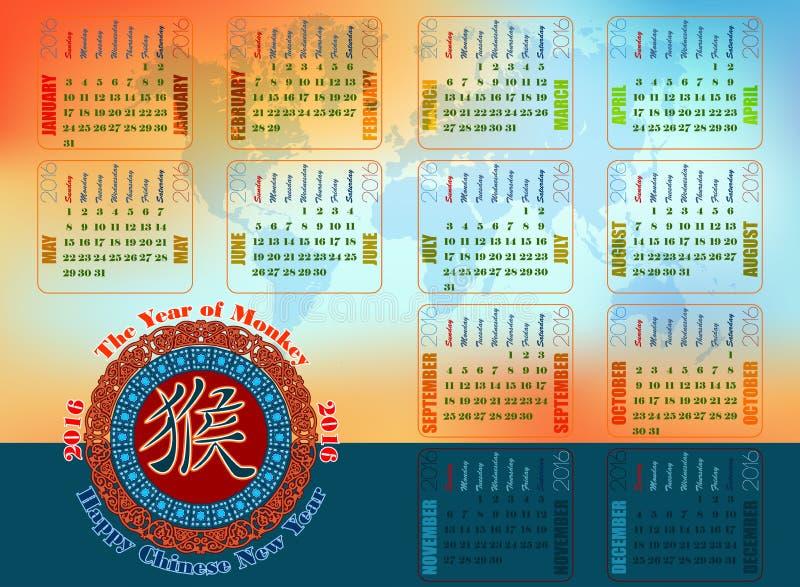 Le fond graphique abstrait pour le calendrier 2016 a conçu avec l'idéogramme chinois pendant l'année du singe illustration stock