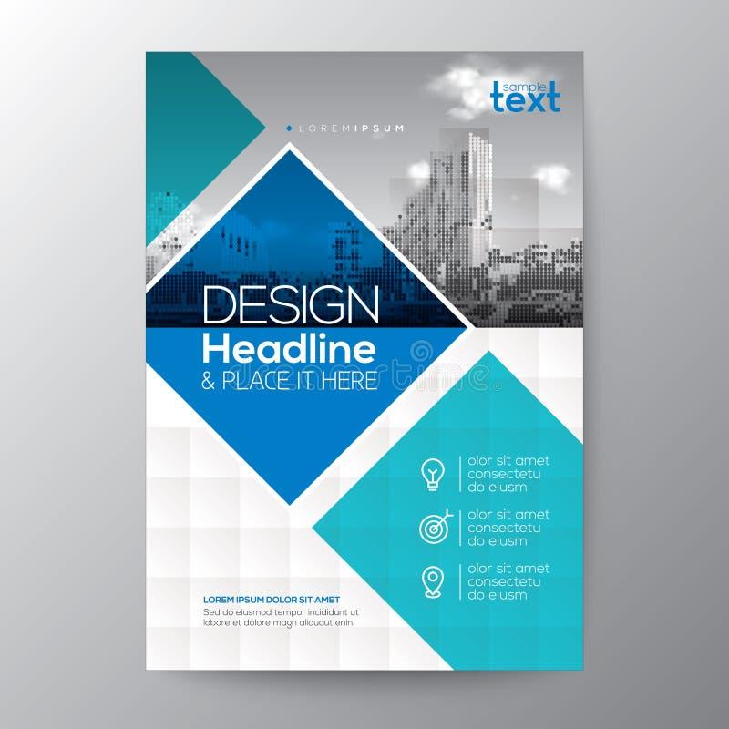Le fond graphique de forme de diamant de bleu et de sarcelle d'hiver pour le rapport annuel de brochure couvrent l'affiche d'inse illustration libre de droits