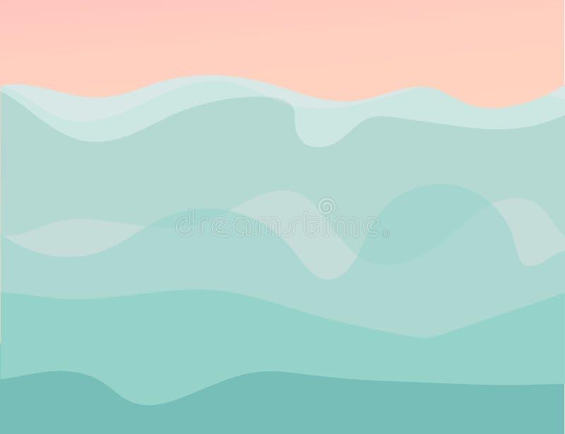 Le fond graphique tiré par la main de calibre d'illustrations d'heure d'été de bande dessinée d'abrégé sur vecteur avec la mer on illustration de vecteur