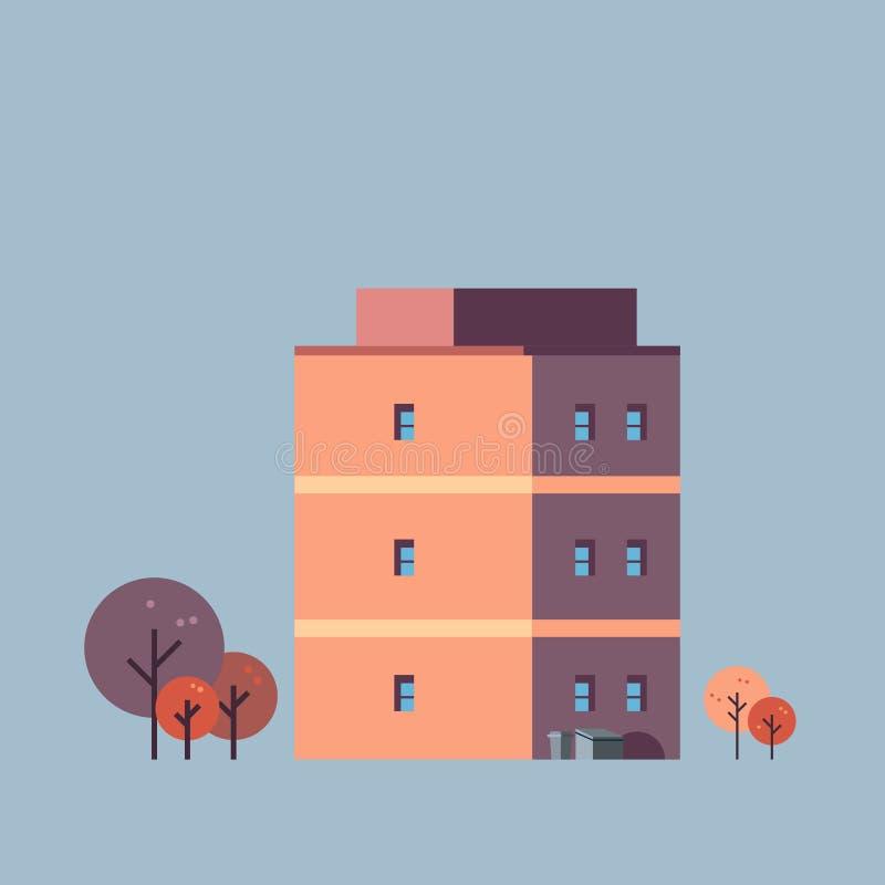Le fond gris d'immobiliers de maison de bâtiment de ville de concept de conception urbaine d'architecture a isolé l'appartement illustration stock